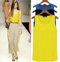 4 Colors Elegant Women Ladies O-Neck Sleeveless Sheer Blouses Chiffon Casual Yellow Blue Tank Tops Shirt M XXL SH81919