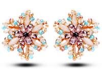 TIANSHE 2014 new brand wedding jewelry high quality handmade luxury OL style austrian crystal flower stud earrings for women,000