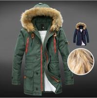 High quality 2014 winter new Korean Slim fashion models plus thick velvet long coat for men/men's down jacket Free Shipping