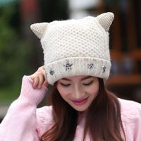 Free shipping Japan and South Korea popular joker harajuku cute devil horns cat ear cap Qiu dong season female hat wholesale
