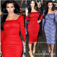 Lace Square Neck Slim Women OL autumn dress package hip pencil skirt