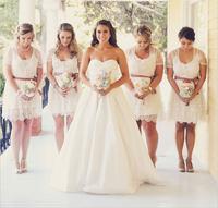 Simple White Lace A-line Knee Length Bridesmaid Dress Vestido Para Madrinha De Casamento With Jacket E281