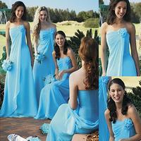 Very Cheap Custom Made Blue Strapless Mermaid Chiffon Bridesmaid Dress E279