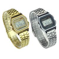 Alipower Vintage Womens Men Stainless Steel Digital Alarm Stopwatch Wrist Watch Freeshipping