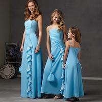 Simple And Cheap Blue Spaghetti Straps A-line Chiffon Bridesmaid Dress Vestidos Para Madrinha 2014 E283
