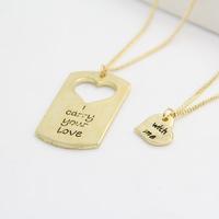 New 2014 fashion unisex men women jewelry gold necklaces & pendants couple heart pendant necklace set DP-464