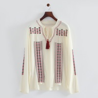 2014 autumn woman casual cotton knitting shirt embriodery v collar long sleeve loose blouse 215823