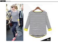 2014 new long-sleeved striped shirt women stitching hedging knit T-shirt free shipping