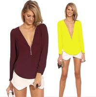 Women Blouses 2014 Autumn Fashion Female Clothes V Neck Long Sleeve Casual Chiffon Zipper Slim Top Blouse Blusas Femininas Q240
