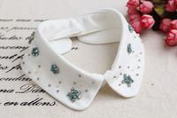 New White Fabric Statement Choker Collar Necklace Shirt Collar For Women Christmas Gift NL-238