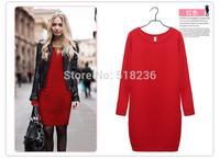 Hot Sale!! Women Winter Dress  New Fashion Pure Color Casual Dress Long Sleeve Autumn Dresses