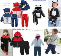 Retail 1SET children's shampooers jogging tracksuits sport set AD hoodies jackets + pants baby boys girls cartoon clothes Suit