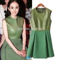 2014 Women's fashion autumn winter suede PU one-piece dress sleeveless tank dress