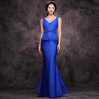 can customized size 2014 wedding formal dress vintage deep V-neck fish tail long design evening dress female costume