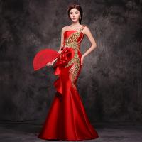 Red tube top train fish tail slim hip long Qipao 2014 evening dress bride dress