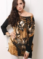 Spring and autumn fashion long-sleeved dress shirt, O- collar sexy mini dress, European style tiger print dress pattern