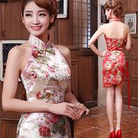 2014 Sexy Halter Slim was thin bride in red cheongsam improved cheongsam dress vintage dress wedding toast Z