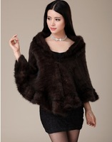 EMS/DHL free shipping women high quality natural   Mink Fur  luxury knitted Shawl/Poncho /coat  butterfly sleeve free size