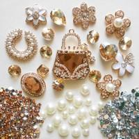 Alloy Phone Deco for DIY Mobile Cases Bling Bling Pieces of Golden Handbag Pearl Ear Ring Diamond Ring