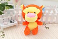 Tiger doll. Hight about 18cm. Cartoon animal. small eyes.  Cute.  Best animal toys gift.  IDA010