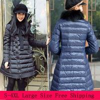 2014 New Designer Long Cloak Slim Women Down Jacket Plus  Large Size Warm Top Clothes For Lady DIY Natural Raccoon Fur Collar