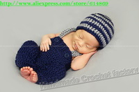 free shipping,Crochet Newborn Suspender Pants and Hat -newborn Photo Prop, baby pants,baby hat, baby beanie NB-3M 100% cotton