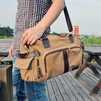 laptop shoulder bag men and male Korean capacity tide travel bags slung canvas leisure man bag retro