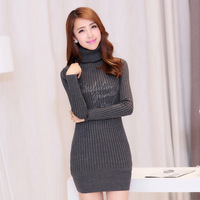 Free Shipping high quality Mercerized cotton Fine needle stripe knit turtleneck full sleeve fashionable lady brief wool dress