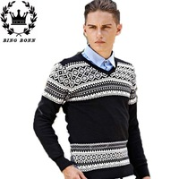 2014 mens sweaters and pullovers Knitted V- Neck Cotton Men Long-Sleeve  t-shirt men brand clothing sweaters male  12.12 on sale