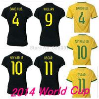 New Fashion Women's 2014 World Cup T.Silva DAVID LUIZ MARCELO NEYMAR OSCAR Yellow Ramires JO Blue Black Jerseys Soccer Jersey