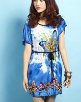 Spring Summer Classic butterfly pattern print dress, O- neck sexy mini beach dress, bat short sleeve bohemian dress + belt