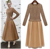 607-8738 New 2014 European Style Autumn Women temperament Elegant Chiffon Stitching Sweater Dress