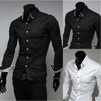 2015 free shipping new spring fashion lining stripe slim Men leisure long-sleeved Shirts retail handsome