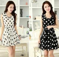 Summer 2014 new Chiffon Dress Korean wave sleeveless Polka Dot print vest slim lace dress