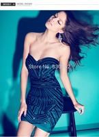 2014 sequins printing sheath sleeveless strapless sexy dress