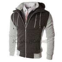 Men's Cardigan Hooded Zip Hoodies Sweatshirts Jacket 2 Layered-Look Fashion Casual sudaderas hombre Outdoor Clothing 11.11 2014
