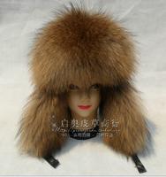 2014 Lei feng's hat man earmuffs fox fur leather fur to keep warm winter hat male model