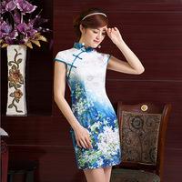 2014 summer new women improved daily upscale retro short paragraph Slim cheongsam women's elegance