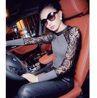 2014 women lace collar knit sweater t shirt tops pullovers Fashion wild black shirt