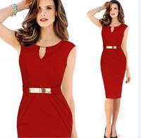 XYFS309 New 2014 Sexy Slim Round Neck Sleeveless Elegant Vestidos Knee-Length Pencil Women Dress