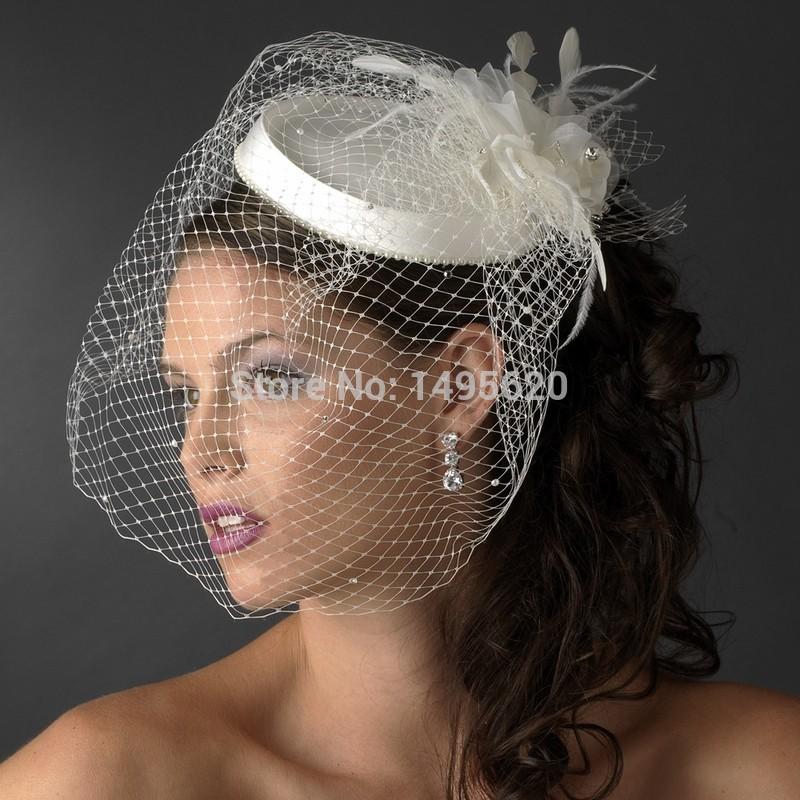 Свадебные шляпы лица покрывалами