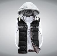Wholesale men's waistcoat new winter 2014 European and American fashion men's down vest jacket plus size hooded cotton vest