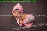 free shipping,Crochet Newborn Pants and Pixie Hat -newborn Photo Prop, baby pants,baby hat, baby beanie NB-3M 100% cotton
