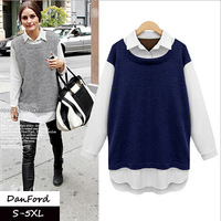 2014 New Brand  Women Plus Size Full Sleeve Cotton BlueT shirt  Fashion t shirt  for Women S-5XL  DFT-006