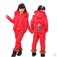 New Arrival 2014 Winter Children Girl Down Suit Down Vest + Down T-shirt +Down Pants 3 Pcs Hooded warm Cartoon Down set