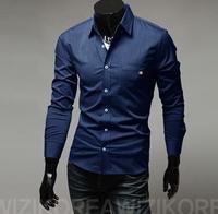 Hot! Fee Shipping High Quality Fashion Turn-down Collar Long Sleeve Jean 100% Cotton Man Shirts