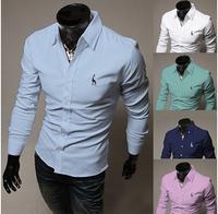 Hot! Fee Shipping High Quality Fashion Turn-down Collar Plus Size M-XXXXL Man 100% Cotton Shirts