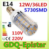 2Pcs/Lot E14 SMD5730 LED Corn Lamps  36Led  LED Bulb Light 12w 110v,220v  Wall Downlight Pendant High Bright