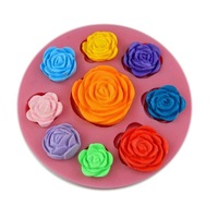 free shipping! Baked cake tools Turn sugar mold silicone 3d mini 9 holes rose silicone mold chocolate mold 50-23