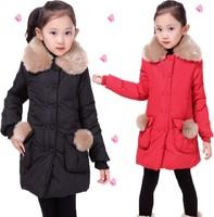 Winter 8 children's clothing outerwear 2014 9 female child 10 winter child 12 14 wadded jacket 13 - 15 girl cotton-padded jacket